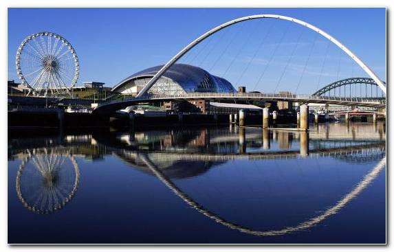 Image Ferris Wheel Gateshead Millennium Bridge Reflection Tyne Bridge Arch Bridge