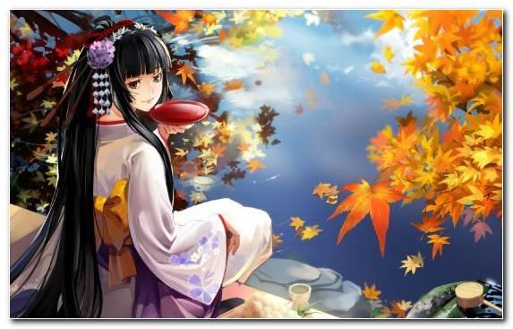 Image Fiction Autumn Canvas Girl Kimono