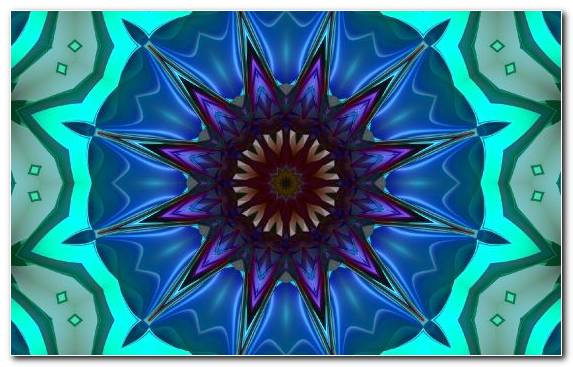 Image Flora Cobalt Blue Light Psychedelic Art Symmetry