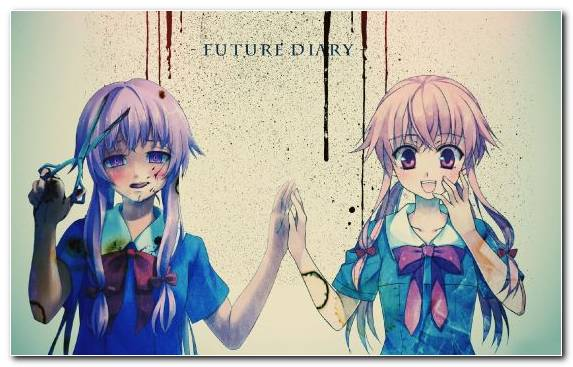 Image Future Diary Long Hair Yandere Girl Illustration