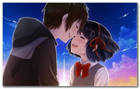 Image Girl Sky Interaction Anime Music Video Blue