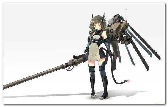 Image Girl Weapon Gun Machine Cannon