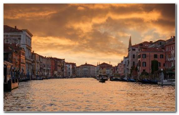 Image Gondola Waterway Sunset Canal Evening