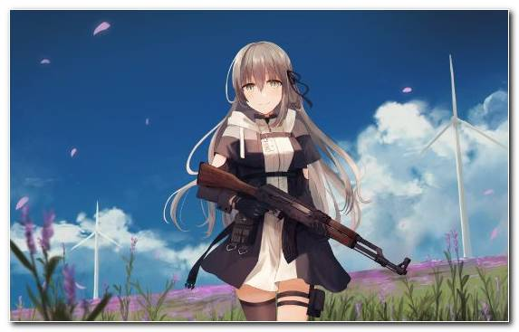 Image Grasses Long Hair Sky Grass Anime