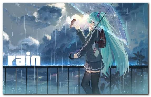 Image Hatsune Miku Vocaloid Water Anime Umbrella
