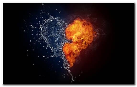 Image Heart Dark Fire Water