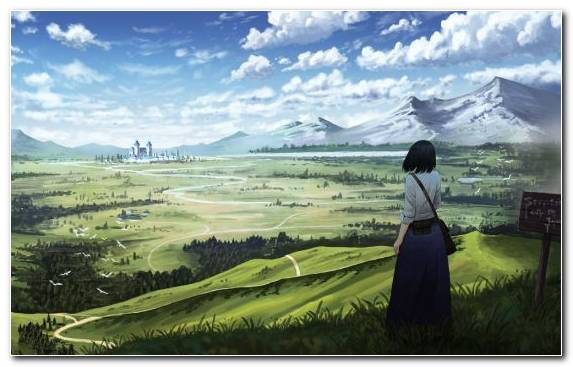 Image Highland Field Grazing Hill Station Anime
