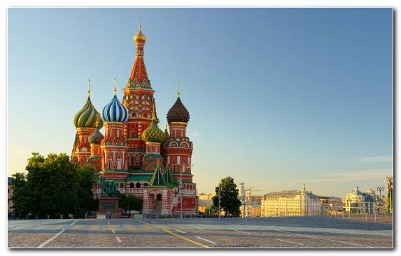 Image Historic Site Spasskaya Tower Moscow Kremlin Tourist Attraction Saint Basils Cathedral