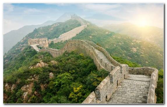 Image Historic Site Great Wall Of China Mountain Archaeological Site Landmark