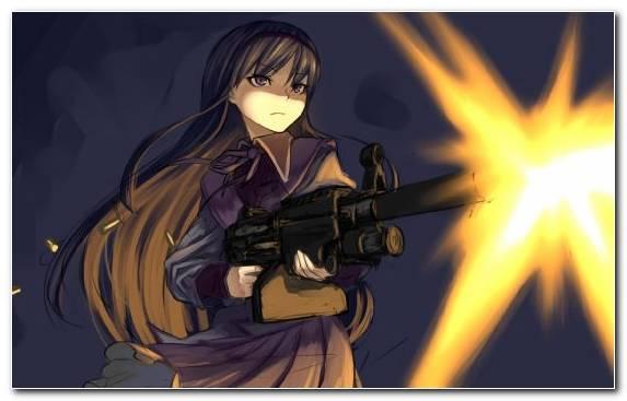 Image Homura Akemi Darkness Sky Weapon Anime