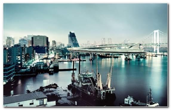 Image Horizon Cityscape Tokyo City Water