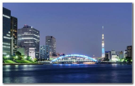 Image Horizon Night Tokyo Landmark River