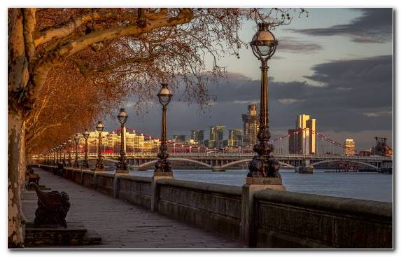 Image Horizon River Thames Saint Petersburg Night Water