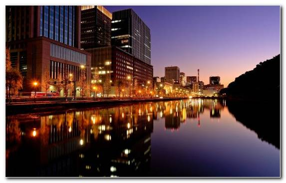 Image Horizon Tokyo New York City Waterway Night