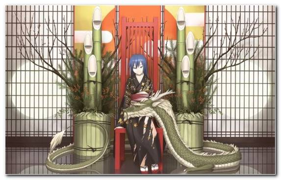 Image Kimono Girl Plant Fictional Character Throne