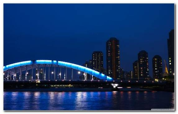 Image Landmark Cityscape Night Bridge Body Of Water
