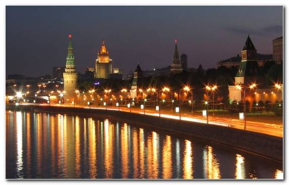 Image Landmark Lighting Moscow Moscow Kremlin Night