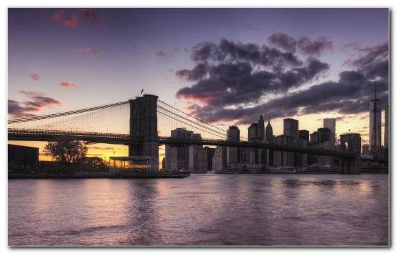 Image Landmark Sunset Twilight Skyline Brooklyn Bridge