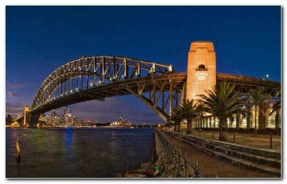 Image landmark sydney harbour bridge tourist attraction night evening