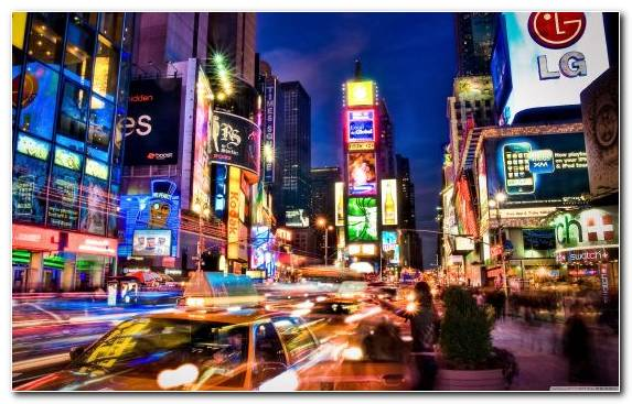 Image Landmark Tourist Attraction City Times Square Night