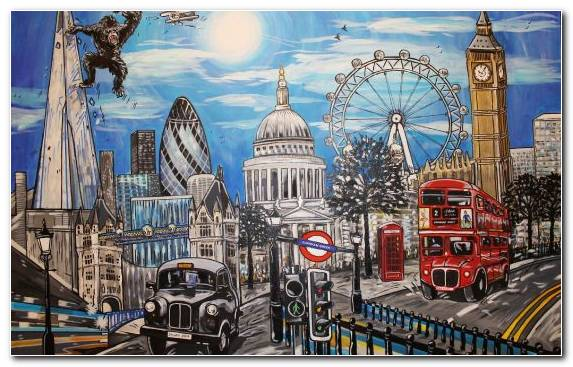 Image Landscape Painting Capital City Landscape Sky London