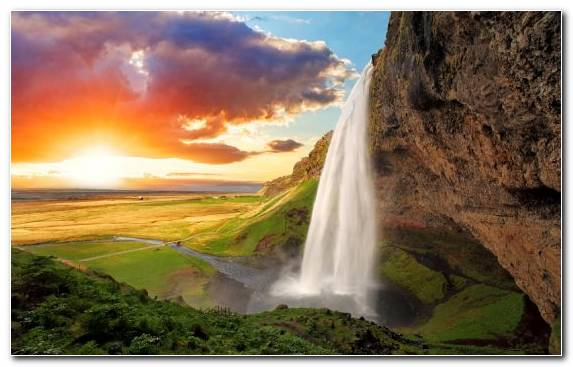 Image Landscape Seljalandsfoss Sunlight Water Resources Sky