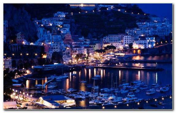 Image Lighting Positano Evening Marina Cityscape