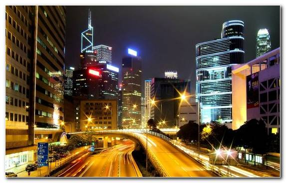 Image Los Angeles Night Landmark City Hong Kong