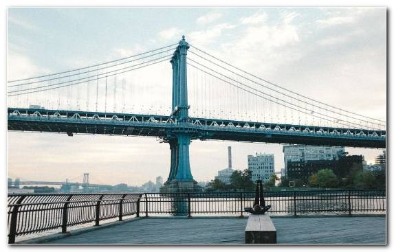 Image Manhattan Bridge Brooklyn Bridge Landmark Extradosed Bridge Girder Bridge