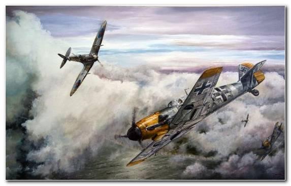 Image Messerschmitt Bf 109 Aircraft Supermarine Spitfire Dogfight Creative Arts