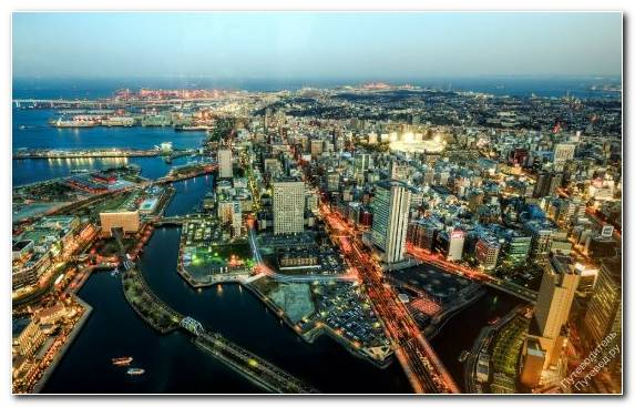 Image Metropolis Birds Eye View Yokohama Landmark Tower Horizon Urban Area