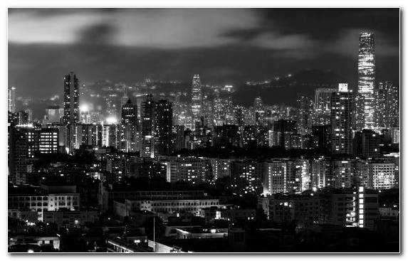 Image Metropolis Night Skyline Hong Kong Urban Area