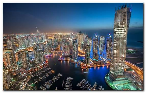 Image Metropolis Night Urban Area Dubai Marina Cityscape
