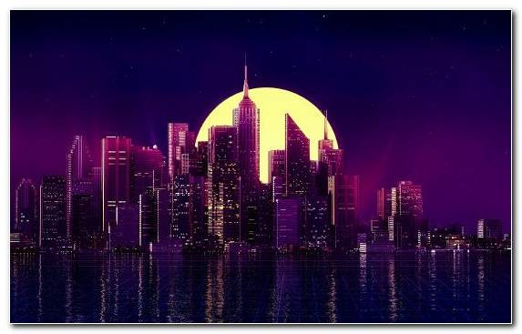 Image Metropolis Purple Sky Reflection Skyline