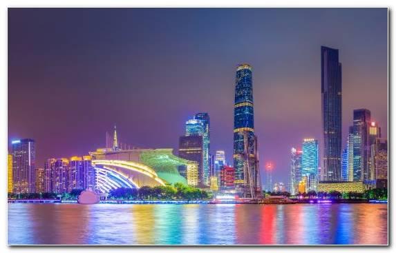 Image Metropolis Reflection Guangzhou Skyscraper Landmark