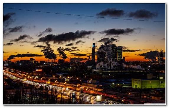Image Metropolis Sunset Twilight Cityscape Dusk