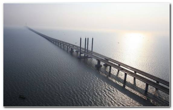 Image mist pier horizon cable stayed bridge tranquillity