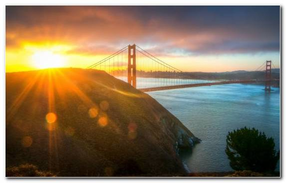 Image Morning Water Golden Gate Bridge Sunlight Golden Hour