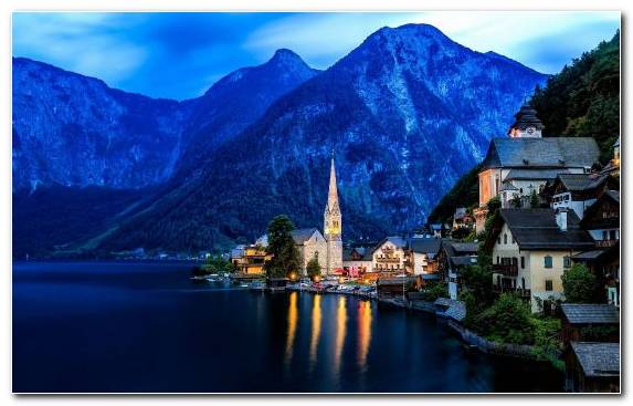 Image Mountainous Landforms Hallstatt Mountain Travel Lake