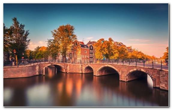 Image Nature Reflection Evening Amsterdam Bridge