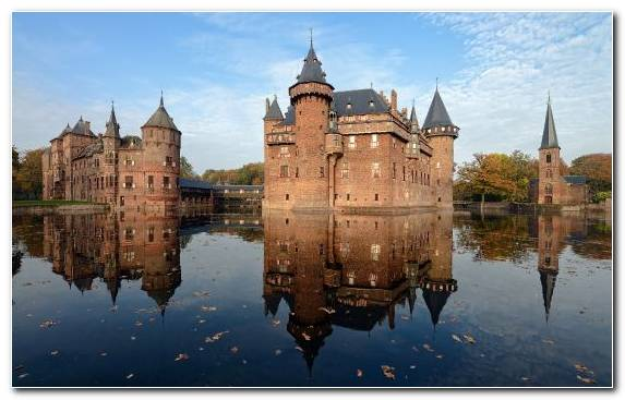 Image Neuschwanstein Castle Landmark Reflection Moszna Castle Waterway