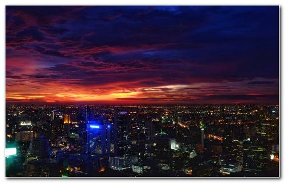 Image Night Bangkok Skyline Sky Horizon