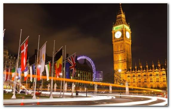 Image Night Big Ben Tower Palace Of Westminster Capital City