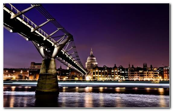 Image Night Bridge Urban Area Tourist Attraction St Pauls Cathedral