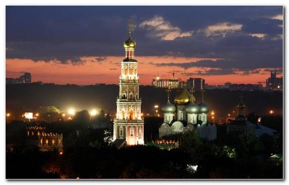 Image Night Capital City Monastery Steeple Metropolis