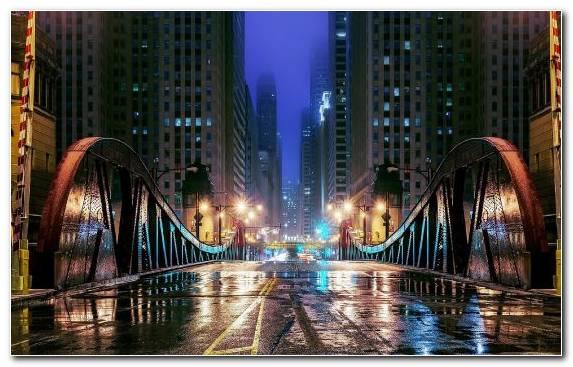 Image Night Cityscape Reflection Skyscraper City