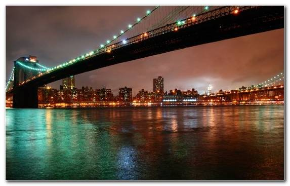 Image Night Landmark Manhattan Bridge Metropolis Capital City