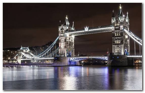 Image Night Metropolis London Bridge Capital City City