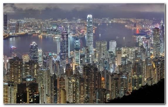 Image night metropolis victoria peak city cityscape