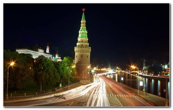 Image Night Moscow Kremlin Tourist Attraction Metropolis Capital City